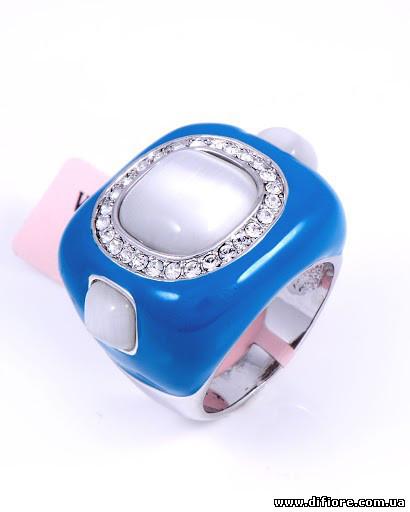 Восхитительное кольцо с бирюзовой эмалью и кошачим глазом