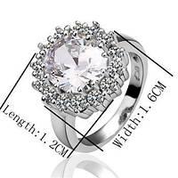 Роскошное кольцо с крупным фианитом