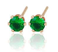 Позолоченные серьги гвоздики Sofique зеленого цвета 20145g, фото 1