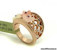 Ажурное нежное кольцо с акрилом и фианитами