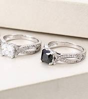 Родированное кольцо Sofique с черным фианитом 12974b