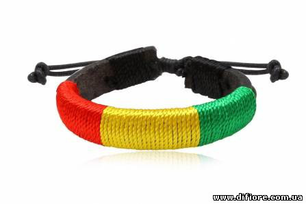 Браслет кожаный яркий трехцветный шнур