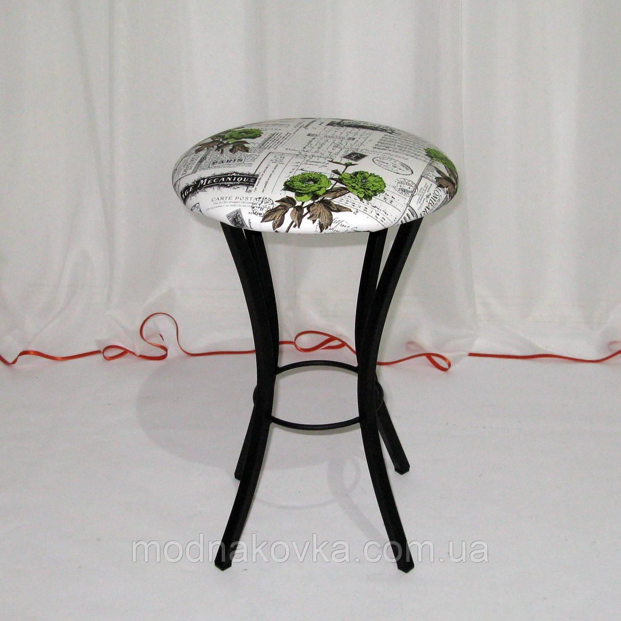 Металлический кухонный табурет, кожзам-рисунок цветы