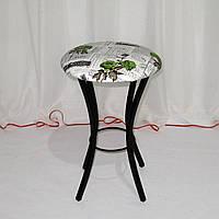 Металлический кухонный табурет, кожзам-рисунок цветы, фото 1