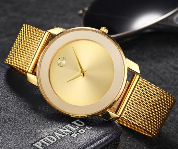 Наручные часы Miss Fox в минималистском стиле (Унисекс) Gold (21913)