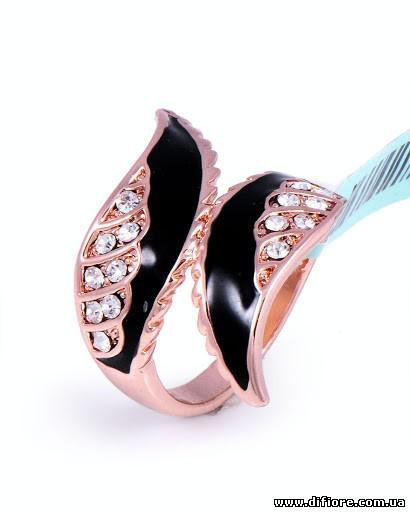 Позолоченное кольцо Крылья с эмалью