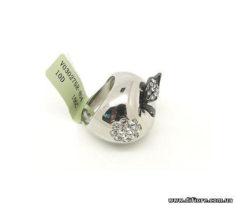 Красивое кольцо Яблоко (родий и золото)