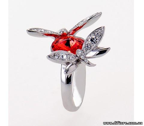 Прекрасное кольцо с красным фианитом и стрекозами