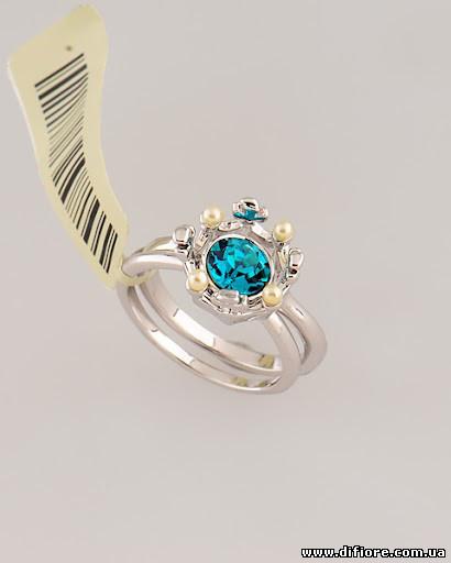 Двойное кольцо с аквамариновым фианитом