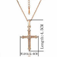 Потрясающий кулон Крест розовое золото