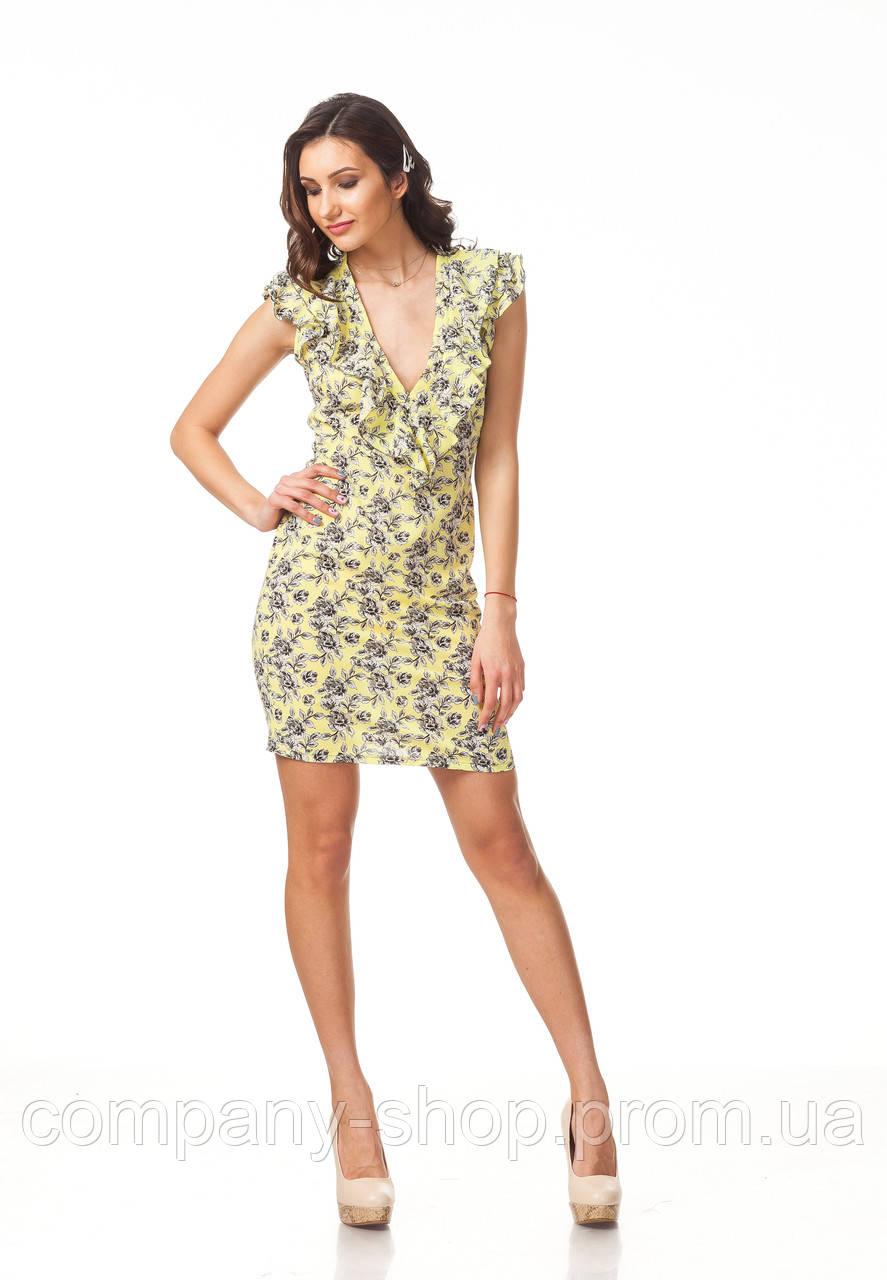 Платье с глубоким декольте. Модель П108_желтый.