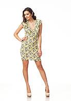 Платье с глубоким декольте. Модель П108_желтый., фото 1