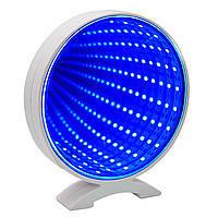 Светильник Бесконечное зеркало USB Infinity Mirror Круг (голубой)