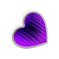 Светильник Бесконечное зеркало USB Infinity Mirror Сердце (малиновый)