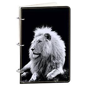 Блокнот v.1.0. А5 Fisher Gifts 190 Белый лев в темноте (эко-кожа)