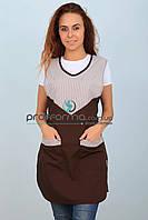 """Фартук-халат для горничной или продавца коричневый в полоску """"Шоколад"""""""