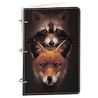 Блокнот Fisher Gifts Элегант А5 710 Енот и лисичка (эко-кожа)