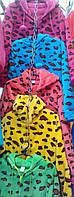 """Женская махровая пижама """"Леопард замок"""" с капюшоном"""