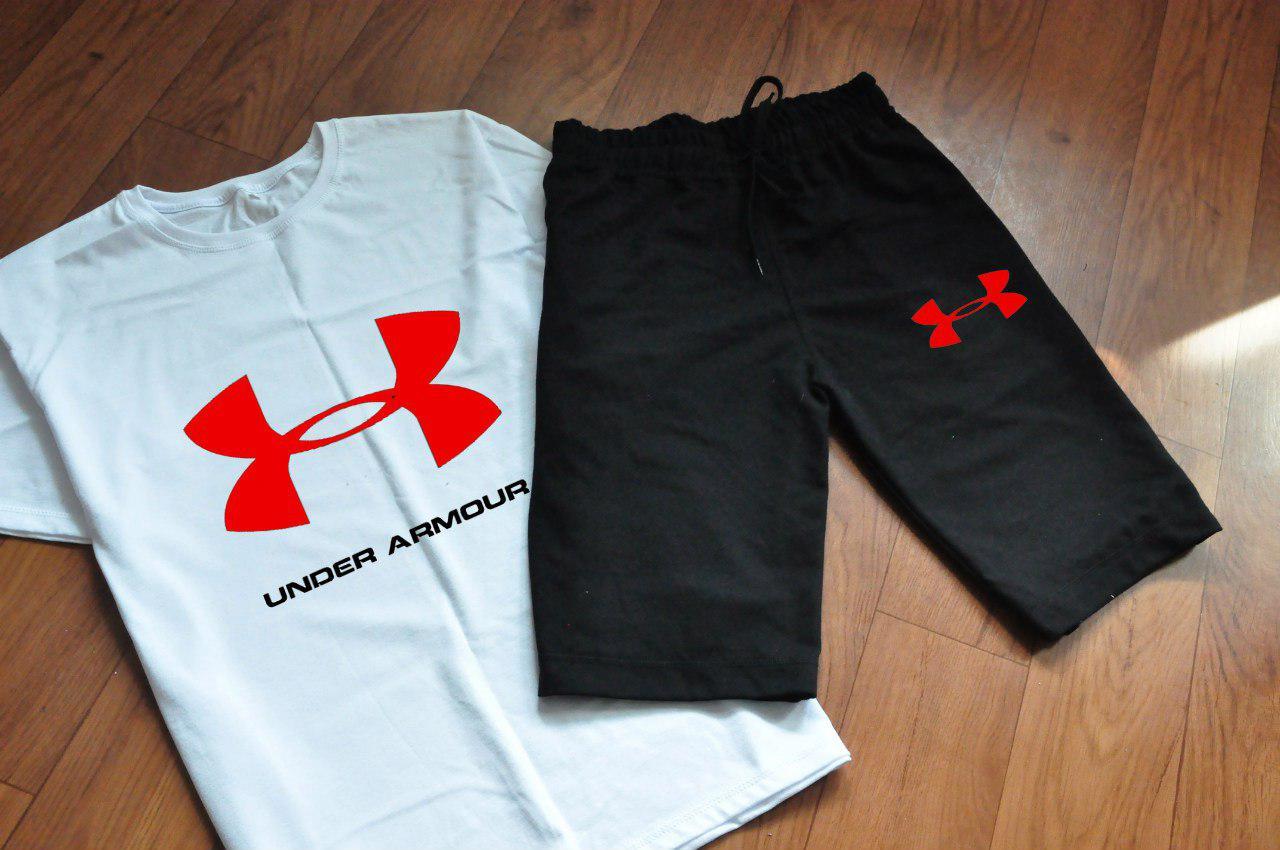 9f18543a1b16 Мужской комплект футболка + шорты Under armour белого и черного цвета (люкс  копия) -