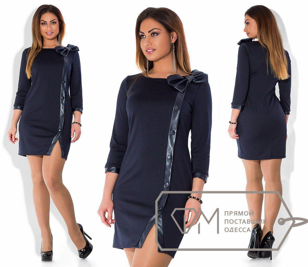 """Элегантное женское платье со вставками эко кожи, ткань """"Французский трикотаж"""" 52 размер батал"""