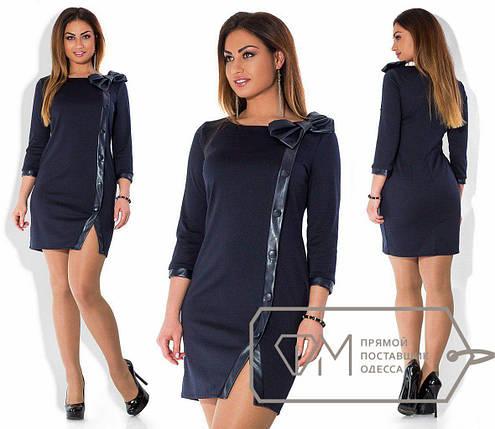 """Элегантное женское платье со вставками эко кожи, ткань """"Французский трикотаж"""" 52 размер батал, фото 2"""