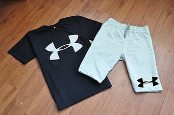 Мужской комплект футболка + шорты Under armour серого и черного цвета