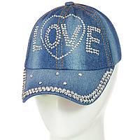 Яркая джинсовая  бейсболка для девочки Love, фото 1