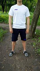 Мужской комплект футболка + шорты ASICS белого и синего цвета (люкс копия)