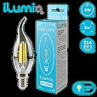 Светодиодная филаментная лампа Ilumia Свеча на ветру 4Вт, цоколь Е14, 3000К (теплый белый), 400Лм (060), фото 1