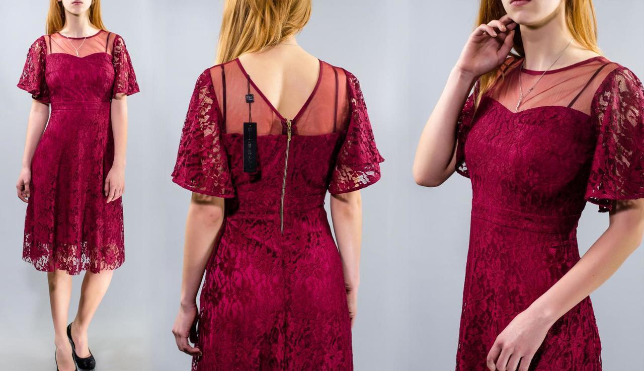 """Вечернее женское платье """"гипюр на подкладке из плотного атласа"""" 48, 50, 52 размер батал"""