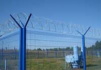 """Панельный забор из сварной сетки """"Рубеж"""", цвет  - синий"""
