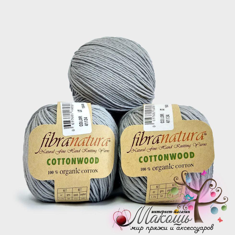 Пряжа Fibranatura Cotton wood Коттон вуд Фибранатура, 41134, серый