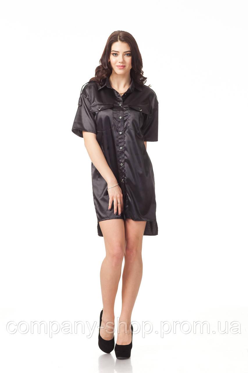 Платье-рубашка атласная. Модель П112_черный атлас.