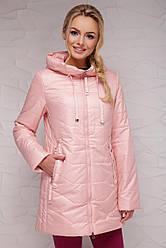 Женская удлиненная демисезонная прямая куртка с капюшоном на молнии Пудра Куртка 17-753