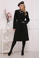 Классическое женское демисезонное пальто на пуговицах с поясом и английским воротником черное П-23