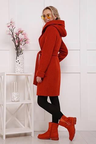 Женское шерстяное пальто до колен с глубоким воротником и карманами терракотовое П-3-ср. ш, фото 2