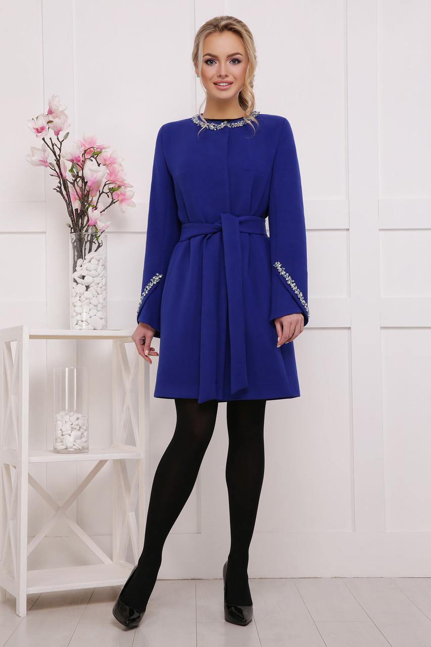 Элегантное женское шерстяное пальто с поясом и камнями синее П-51 к