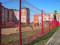 """Панельный забор из сварной сетки """"Рубеж"""", цвет  - красный, фото 1"""