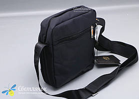 Сумка мужская текстильная через плечо маленькая черная Nobol, фото 3