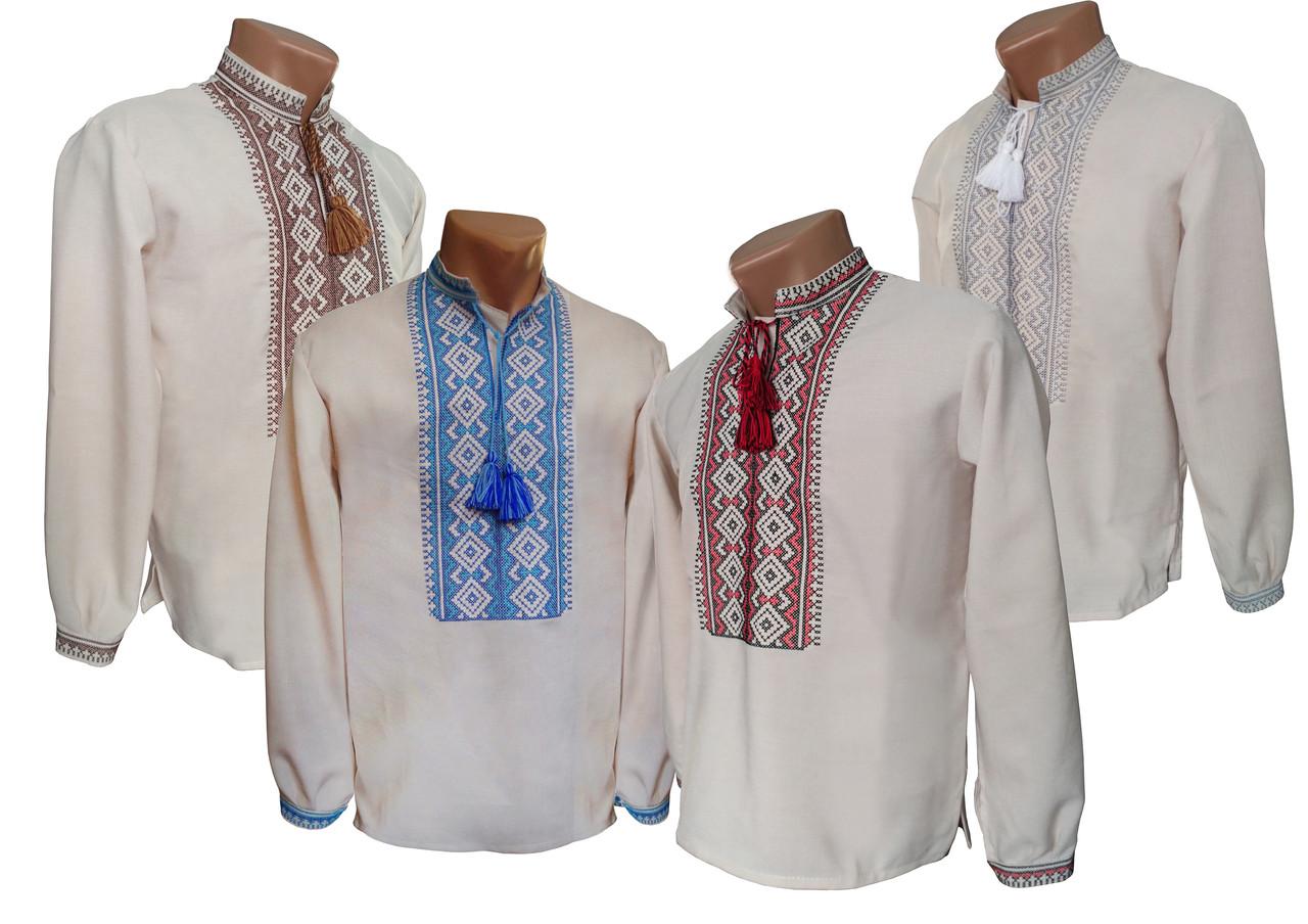 Лляна вишита сорочка хрестиком для підліткатка із геометричним орнаментом