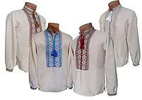 Льняная вышитая рубашка крестиком для подростка с геометрическим орнаментом, фото 1