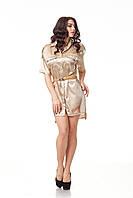 Платье-рубашка атласная. Модель П112_бежевый атлас., фото 1