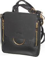 Женская сумка-рюкзак (черный+замш клапан)22*23
