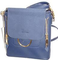 Женская сумка-рюкзак (синий+замш клапан)22*23