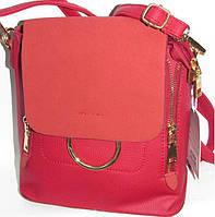 Женская сумка-рюкзак (красный+замш клапан)22*23