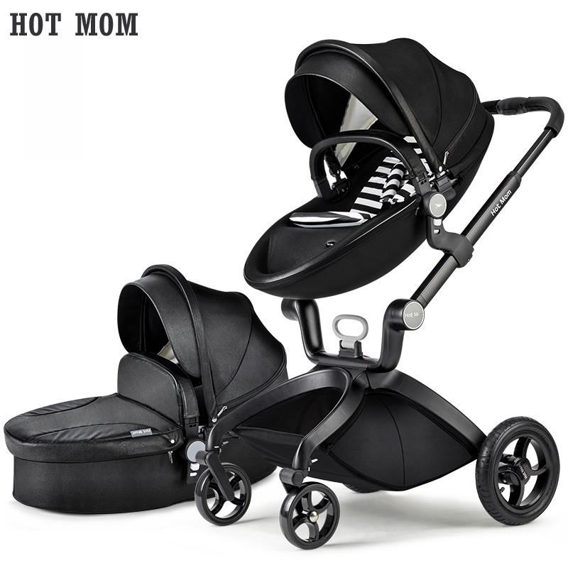 Детская коляска 2 в 1 Hot Mom 2017 Черная эко-кожа Прогулочная и люлька