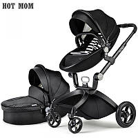 Детская коляска 2в1 Hot Mom 2017 Черная эко-кожа Прогулочная и люлька