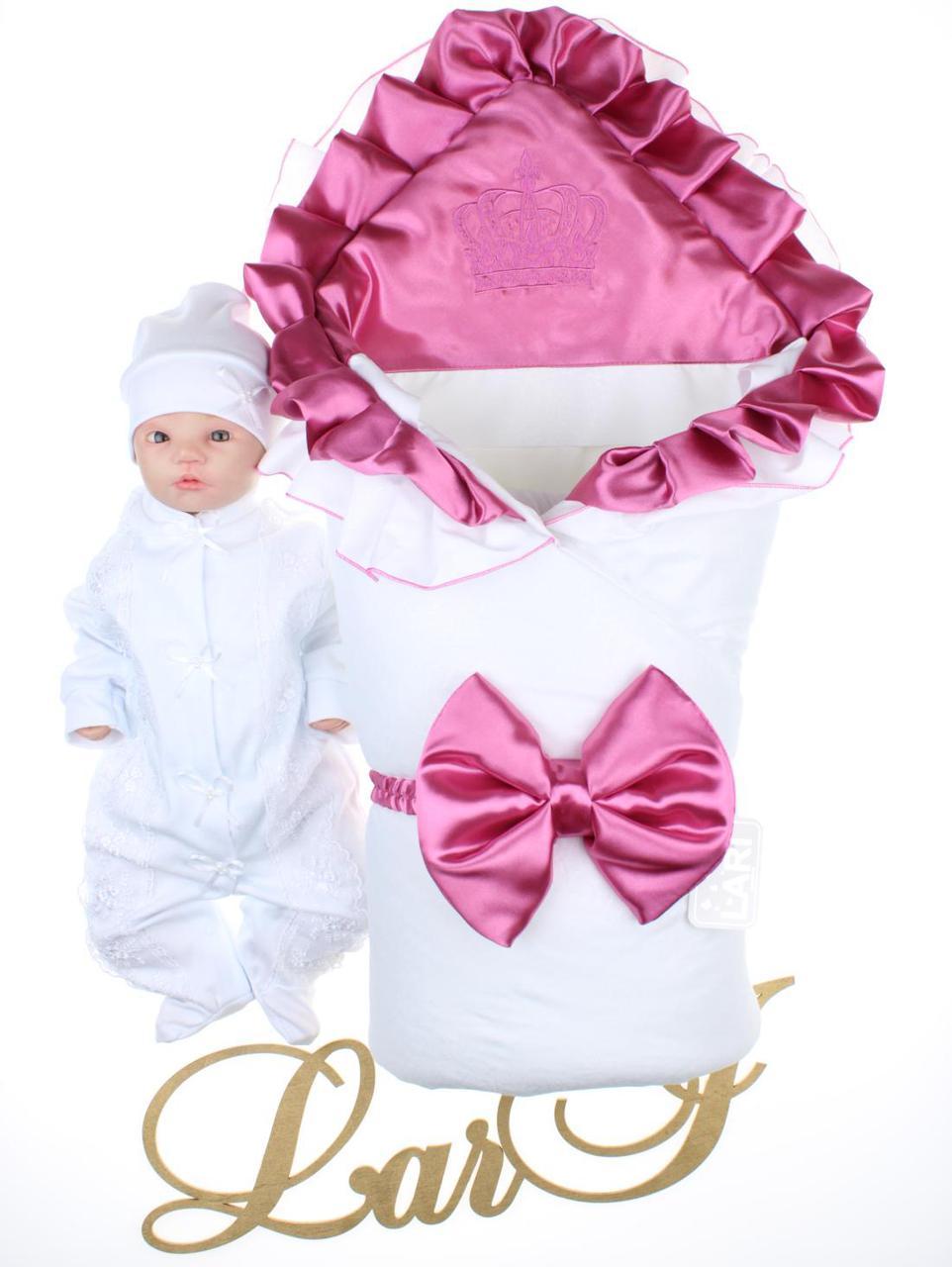 """Демисезонный набор """"Фирменный"""", белый с розовым"""