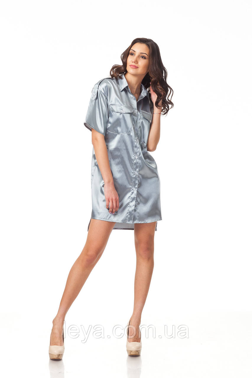 Платье-рубашка атласная. Модель П112_серый атлас.