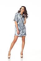 Платье-рубашка атласная. Модель П112_серый атлас., фото 1